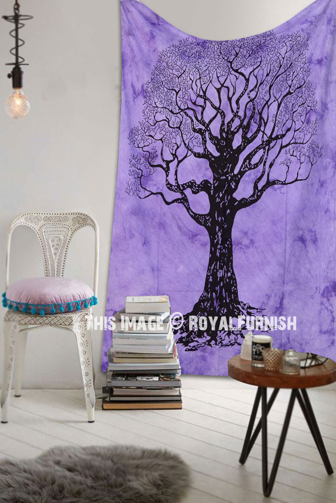 Purple Small Desert Tree Of Life Tie Dye Tapestry Wall