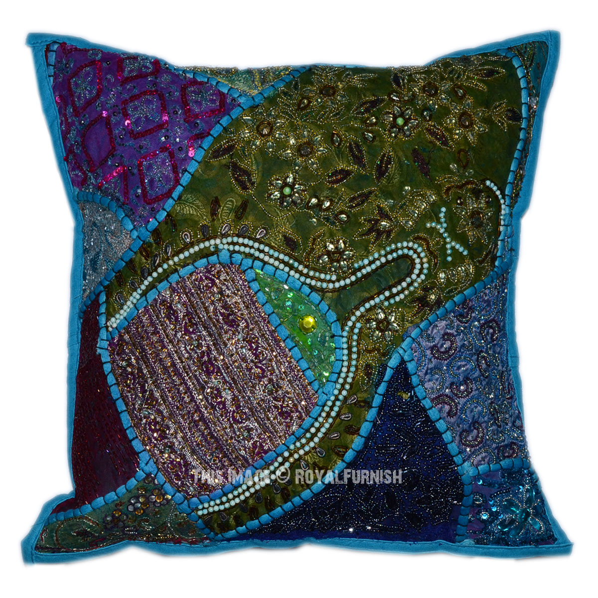 Blue Beaded Throw Pillow : Blue Old Fabric Patchwork Design Beaded Square Toss Pillow Sham - RoyalFurnish.com