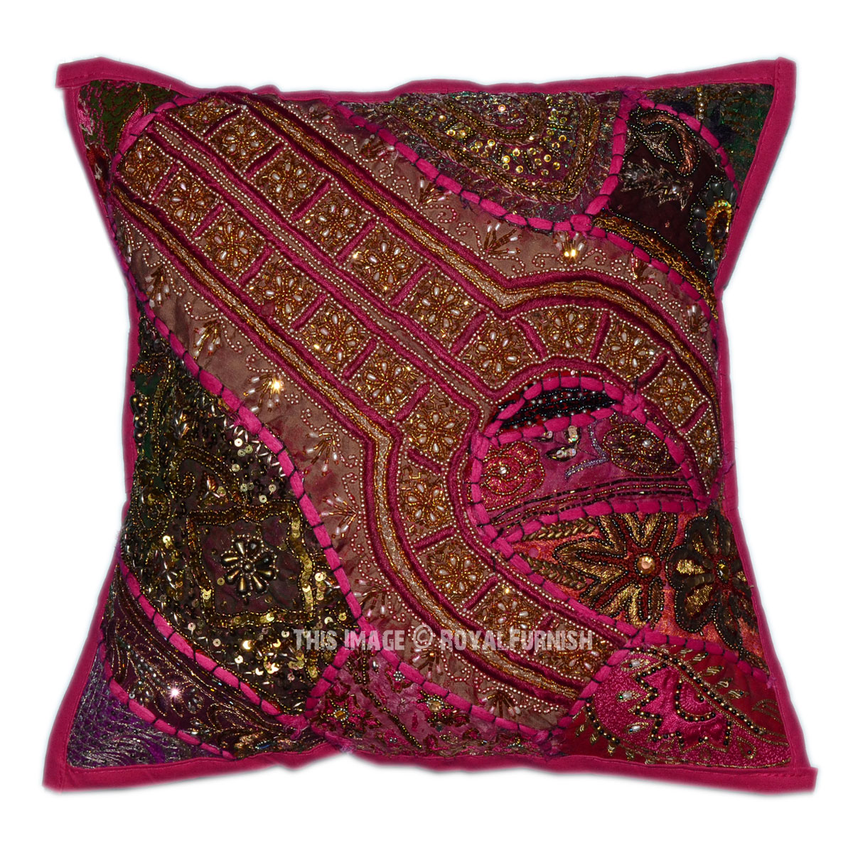 Pink Beaded Decorative Pillow : Pink Decorative & Accent Vintage Beaded Throw Pillow Sham 16