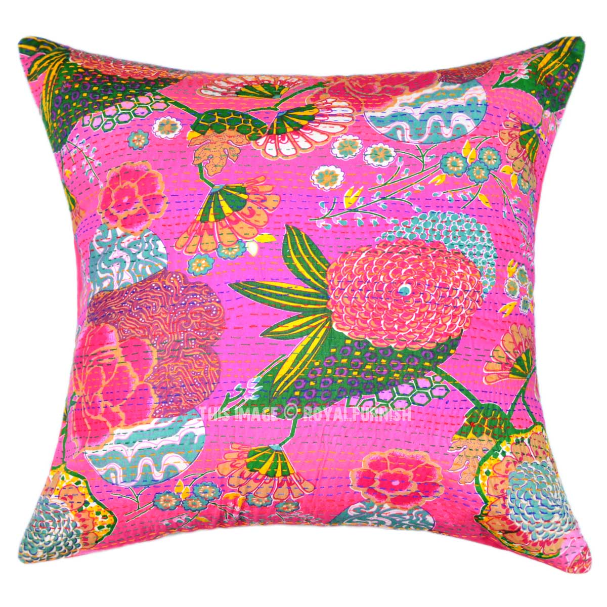 Oversize Decorative Square Kantha Throw Pillow Cover, Boho Accent 24X24 - RoyalFurnish.com