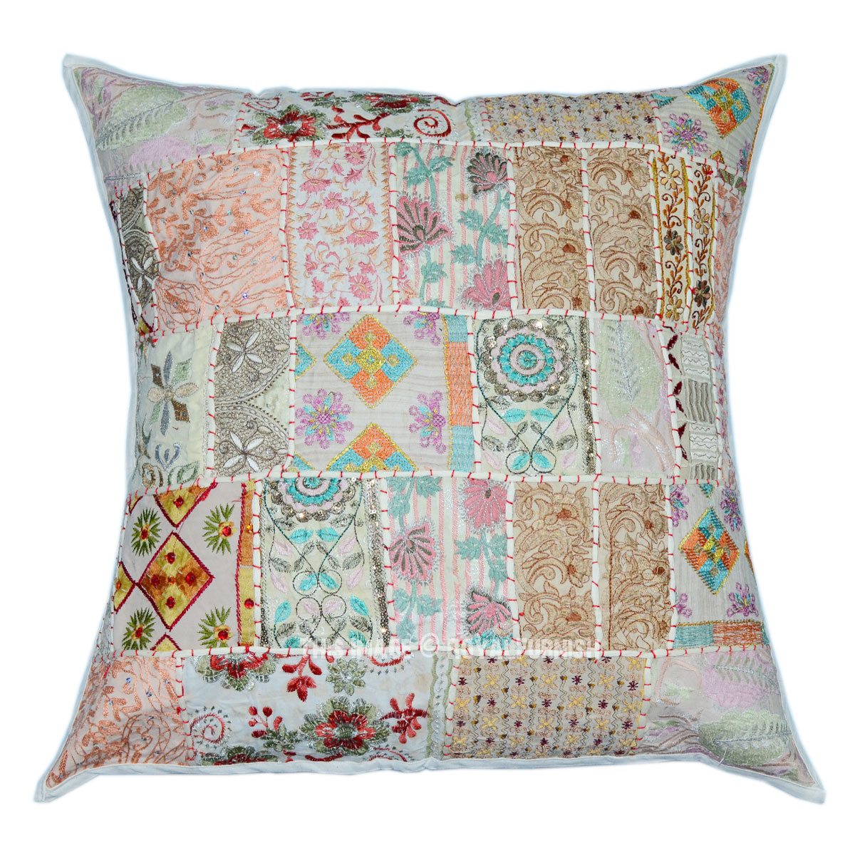 White Oversized Vintage Boho Patchwork Square Indian Throw Pillow Cover