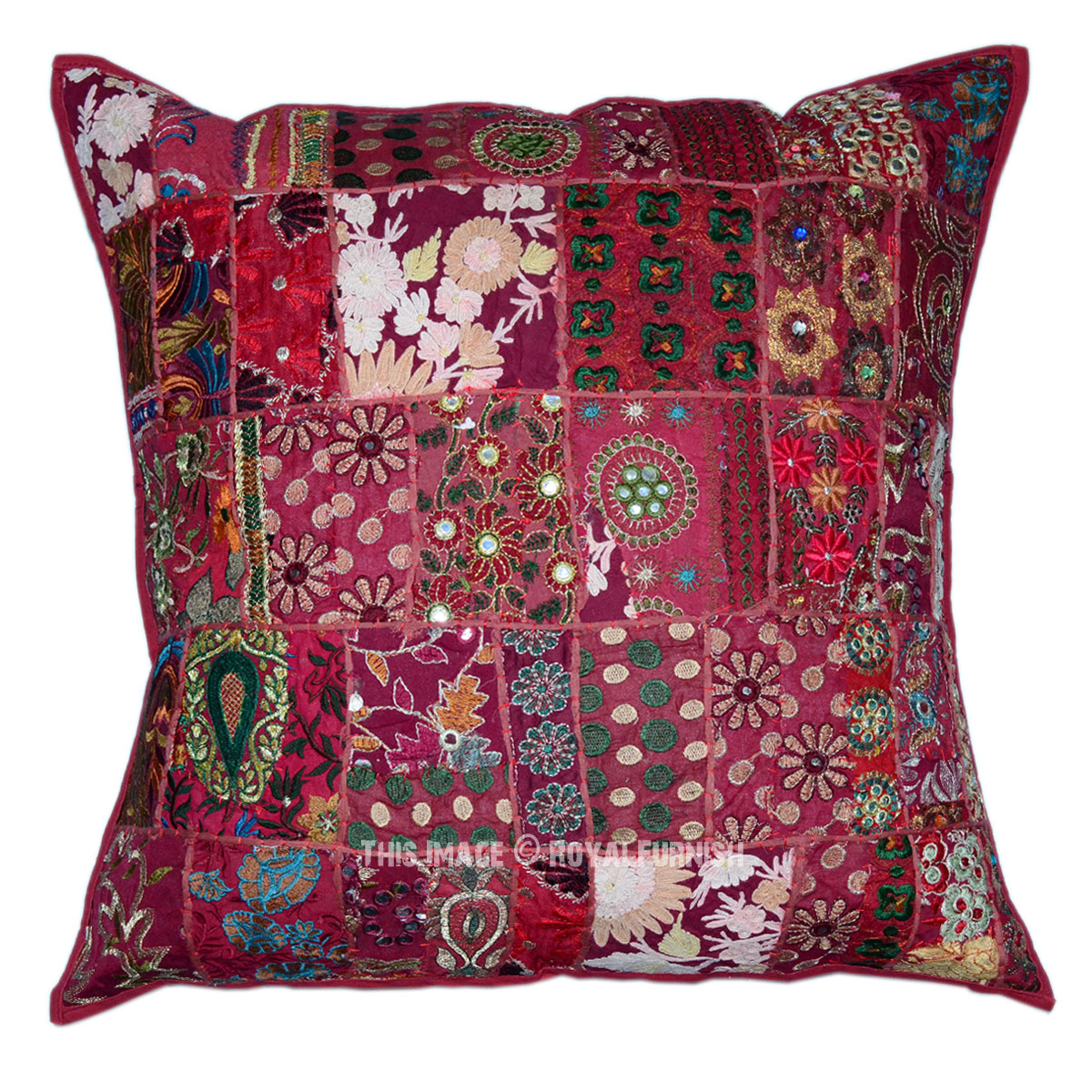 Oversized Decorative Pillow Covers : Red Oversized Vintage Bohemian Patchwork Square Indian Pillow Cushion Cover - RoyalFurnish.com