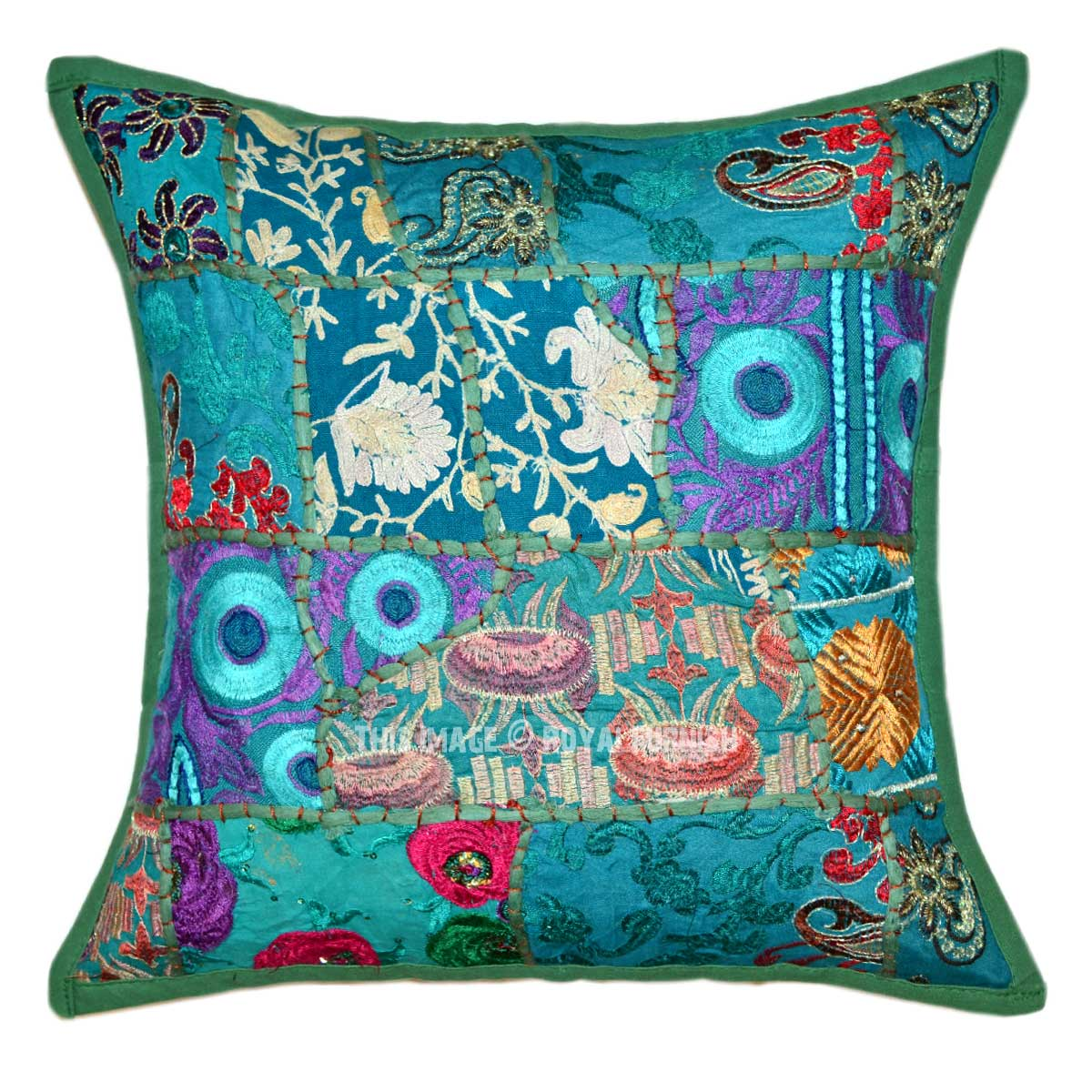 """16X16"""" Green Multi Patch Embroidered Boho Accent Pillow"""