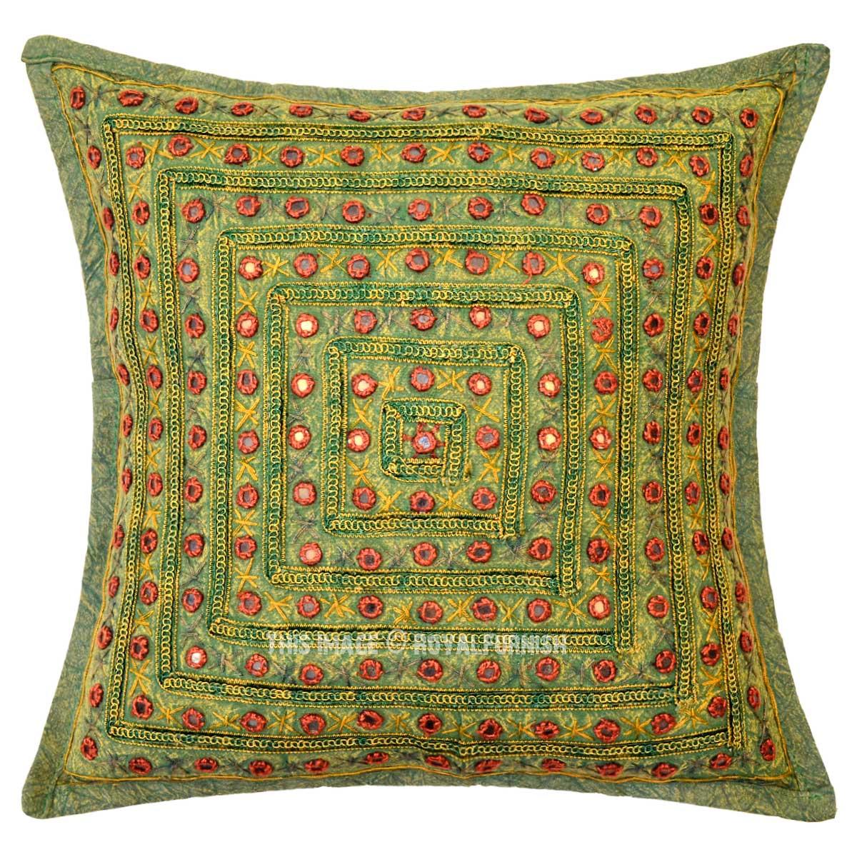 Multi Green Square Mirrored Embroidered Handmade Decorative Pillow Case 16X16 Inch ...