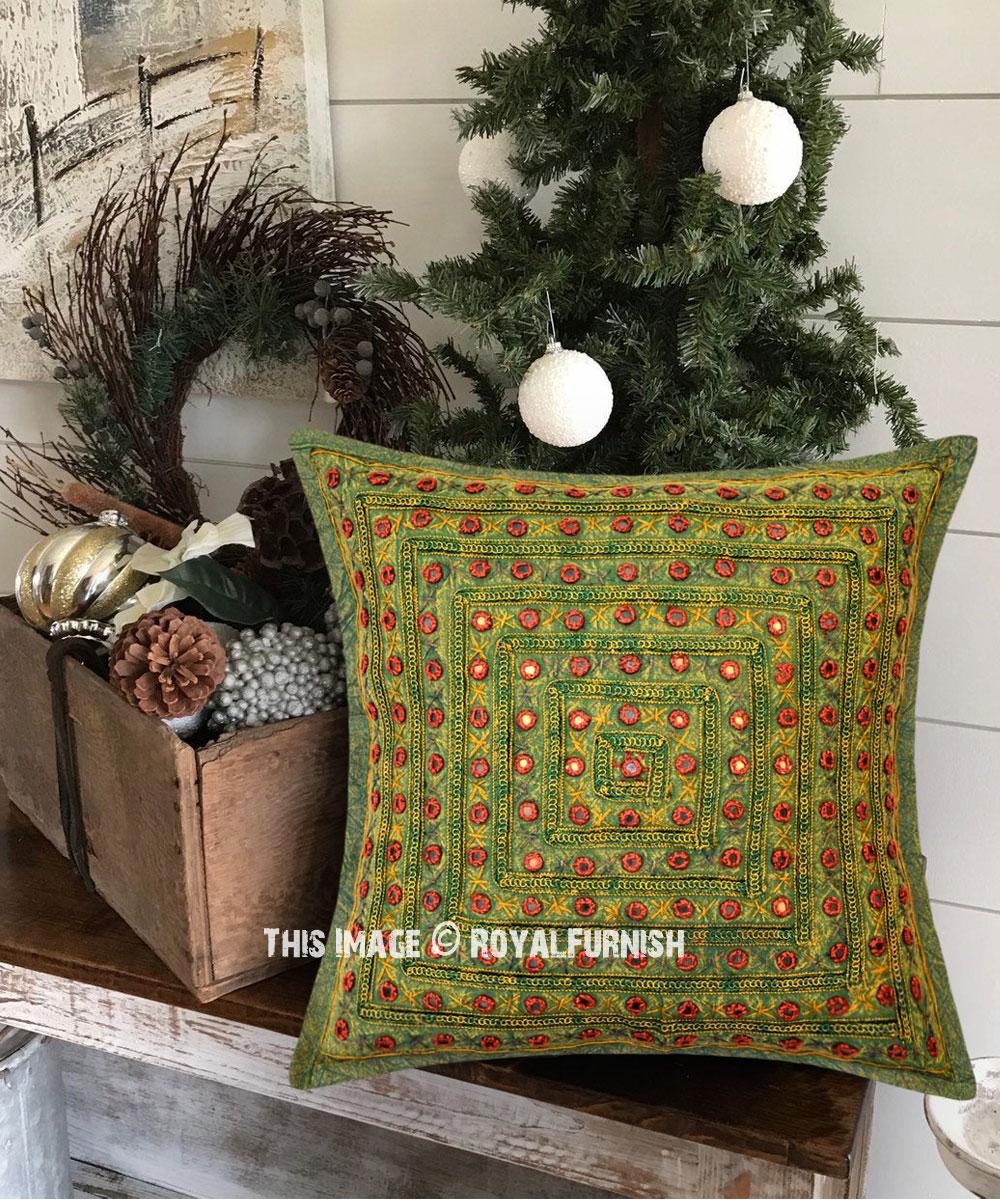 Multi Green Square Mirrored Embroidered Handmade Decorative Pillow Case 16x16 Inch Royalfurnish Com