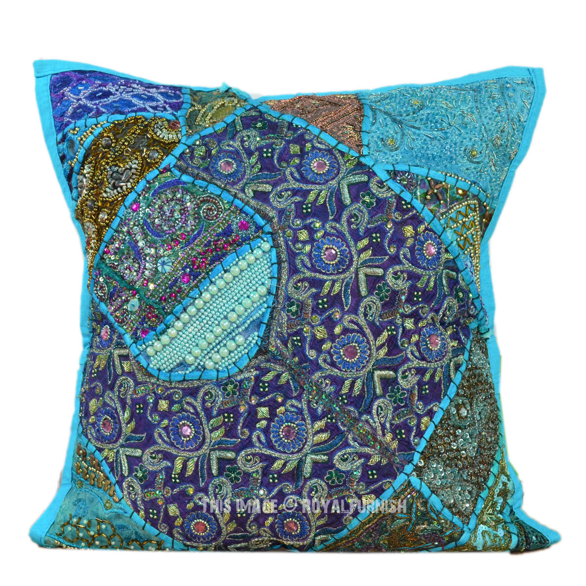 Blue Beaded Throw Pillow : 16X16