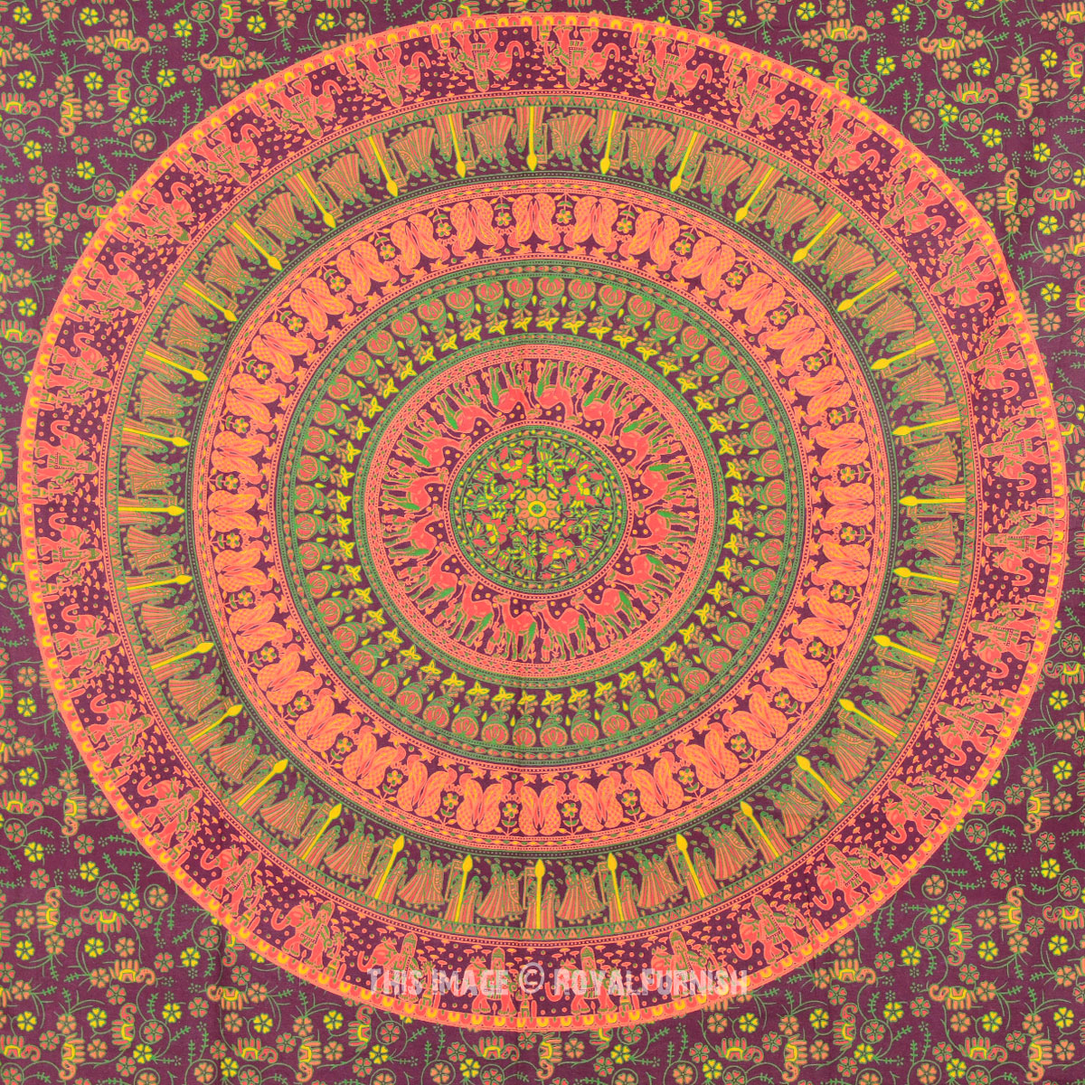 Twin Maroon Psychedelic Indian Mandala Bohemian Tapestry ...