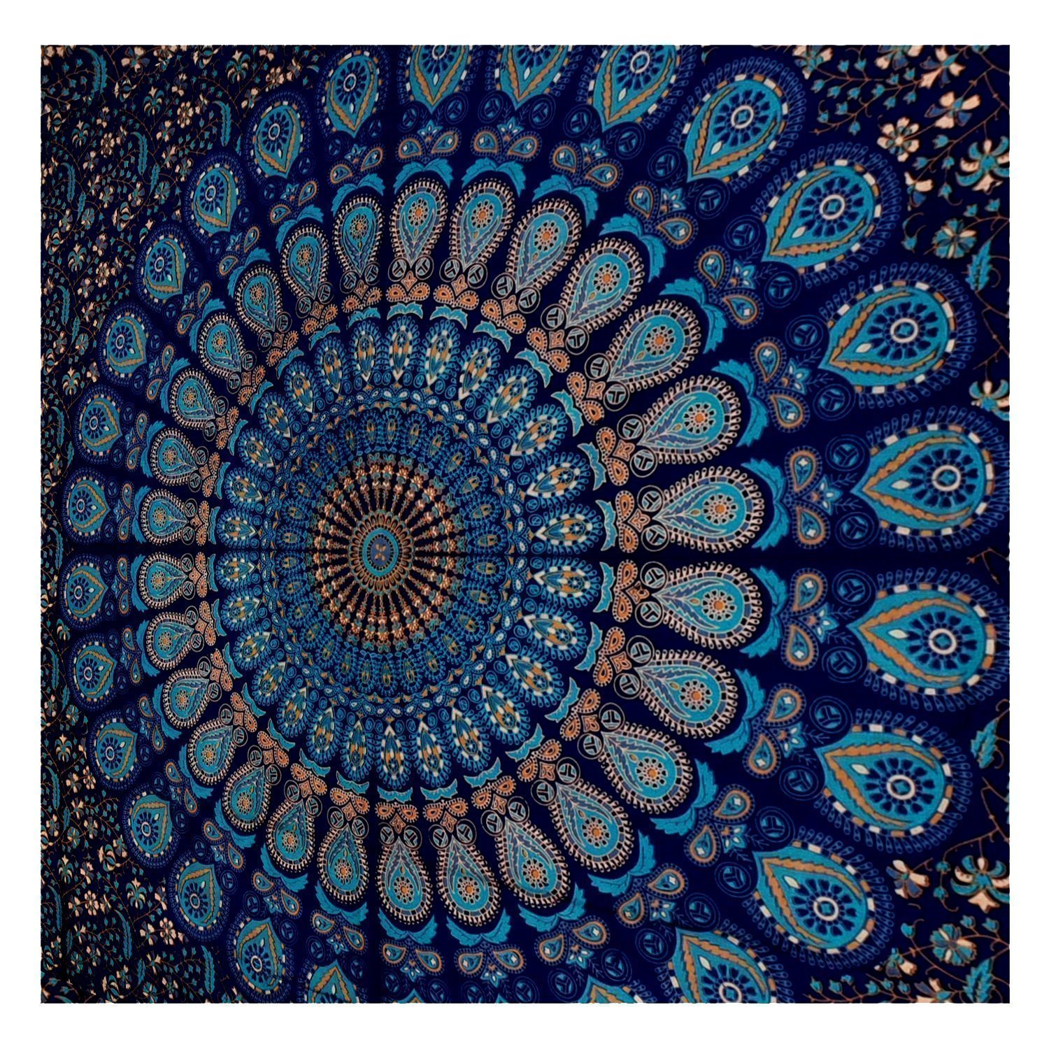 Twin Indian Blue Hippie Mandala Tapestry Wall Hanging Boho
