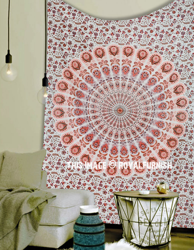 bedroom tapestry. Twin Size White Medallion Mandala Hippie Tapestry Bedroom and Dorm Decor  Art RoyalFurnish com