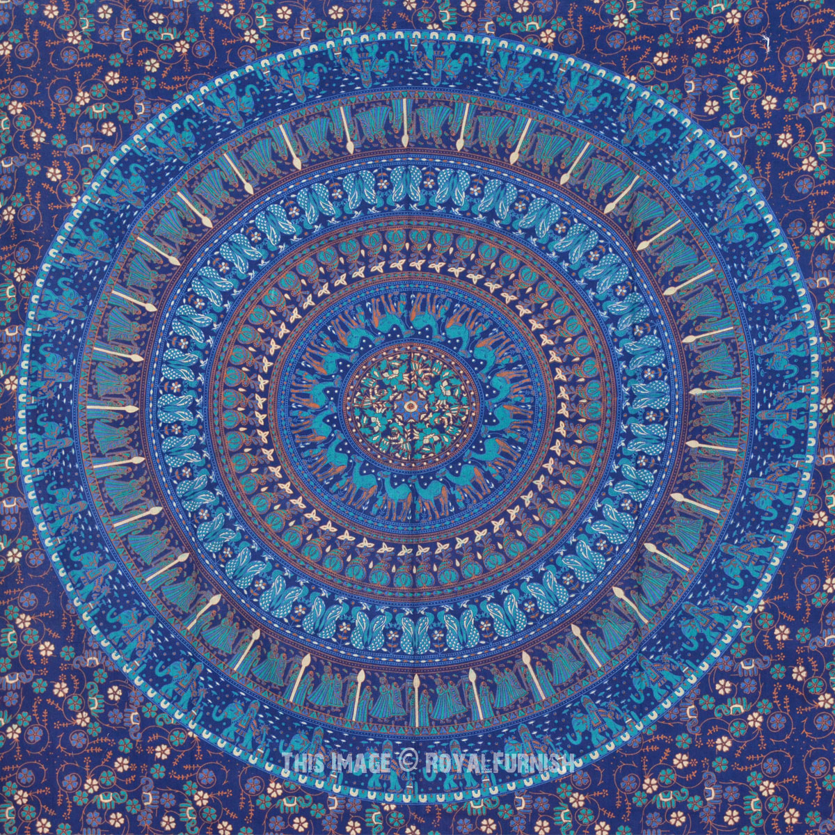 Twin Blue Boho Chic Style Outdoor/Indoor Mandala Bohemian ...