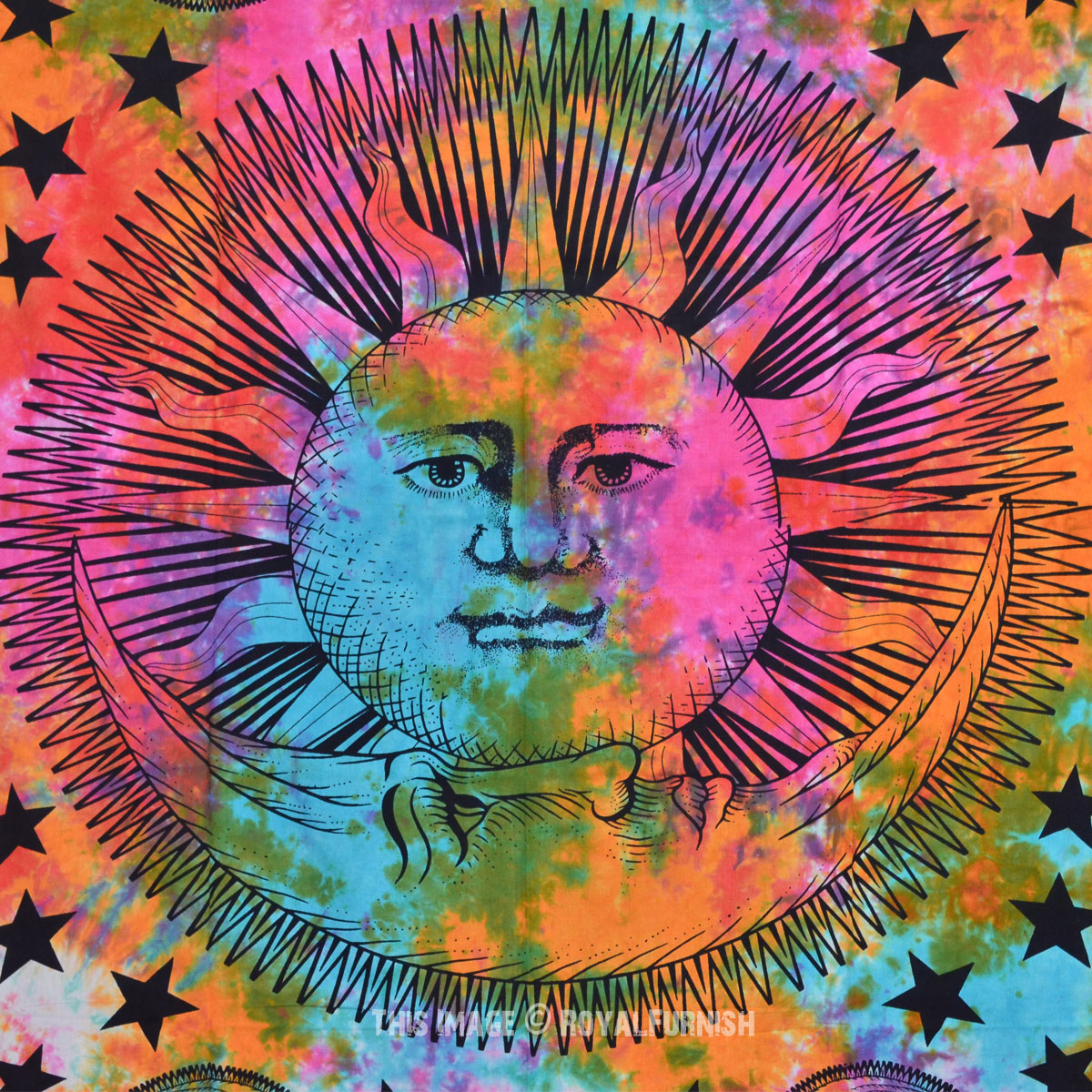 Multicolor Psychedelic Tie Dye Celestial Sun and Moon Wall ...