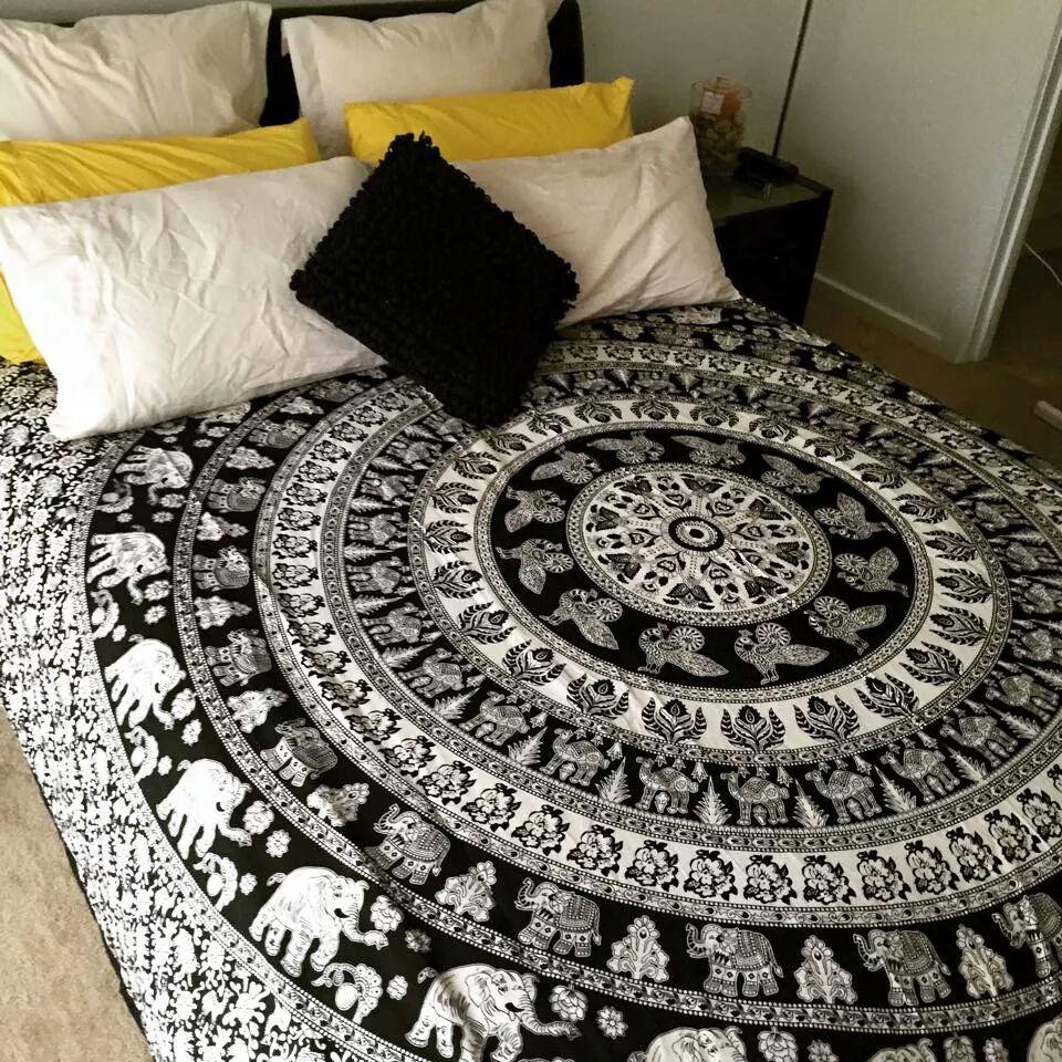 Black And White Indian Elephant Mandala Tapestry Wall