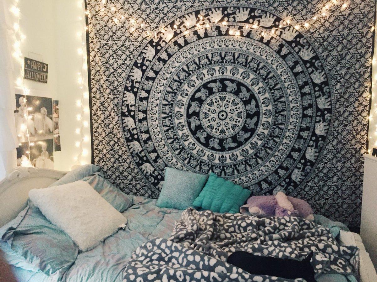 bedroom tapestry. Black and White Indian Elephant Mandala Tapestry Wall Hanging Hippie  Bedspread