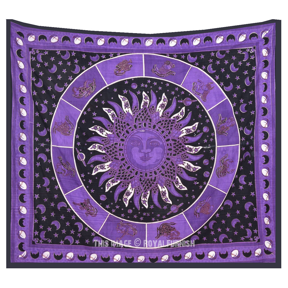 Queen Purple Celestial Zodiac Sign Burning Sun Tapestry