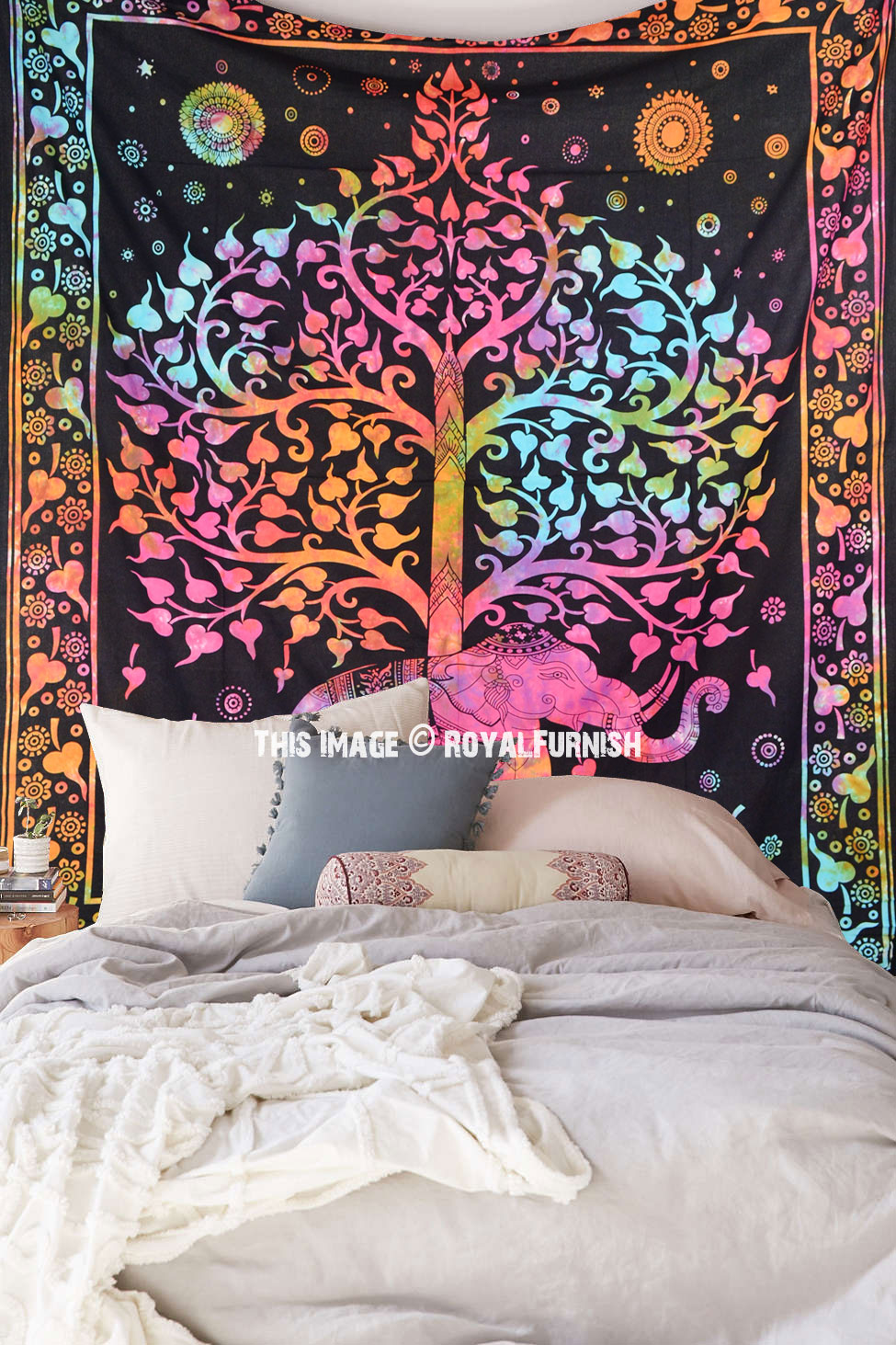 Tie Dye Colorful Elephant Tree Tapestry Wall Hanging Bedspread Bedding. Tie Dye Colorful Elephant Tree Tapestry Wall Hanging Bedspread