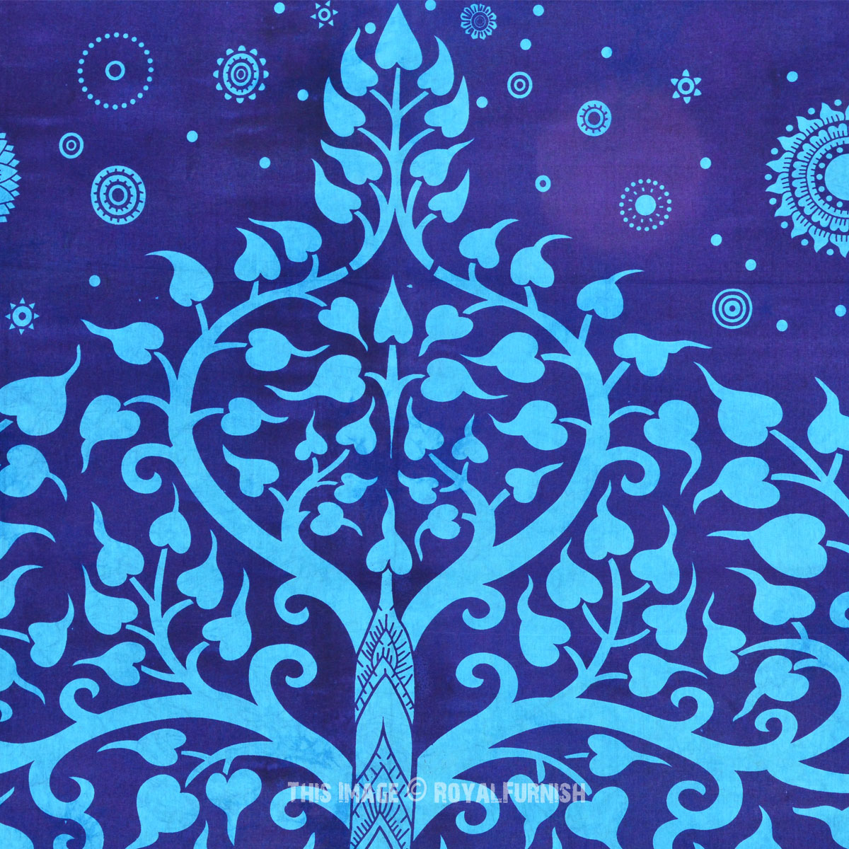 Large Blue Elephant Tree Tapestry Wall Hanging Tree Of
