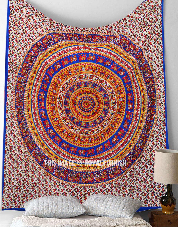 Blue Multicolor Elephant Mandala Tapestry Hippie Tapestry