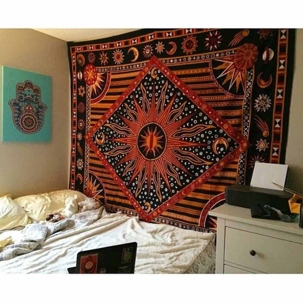 Multicolor Celestial Sun Moon U0026 Planets Tapestry Wall Hanging Throw  Bedspread Bedding