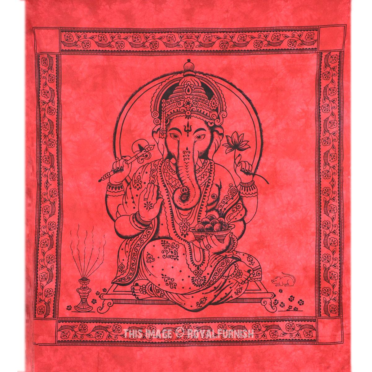 Red Hindu God Ganesha Tapestry Wall Hanging Royalfurnish Com