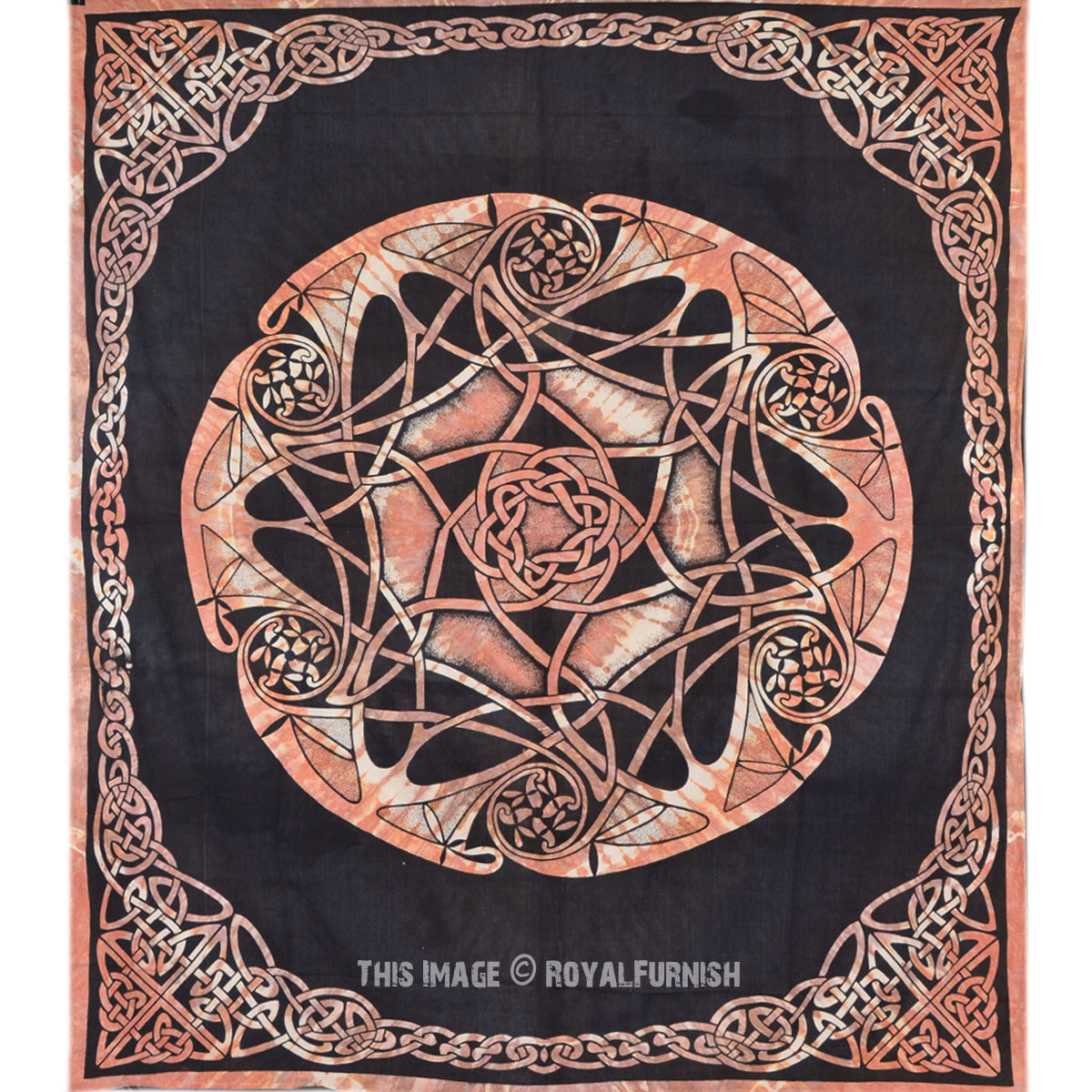 Black Celtic Star Knot Mandala Tapestry Wall Hanging