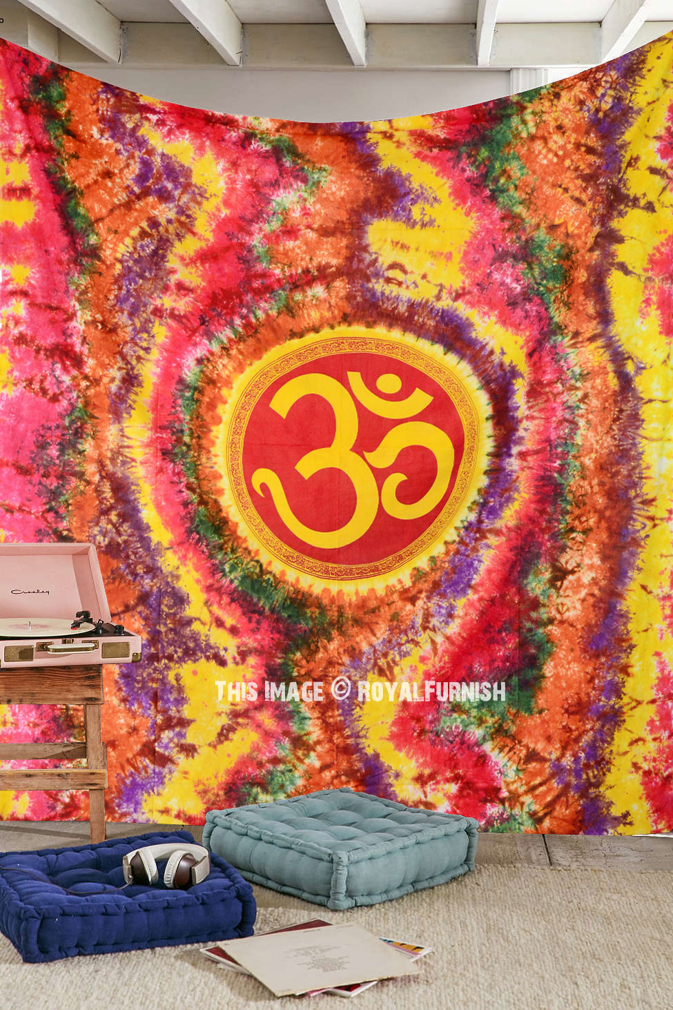 Queen Size Colorful Hippie Hindu Om Symbol Tapestry Wall
