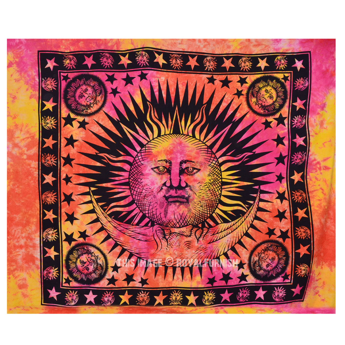Large Colorful Tie Dye Hippie Sun And Moon Tapestry Wall