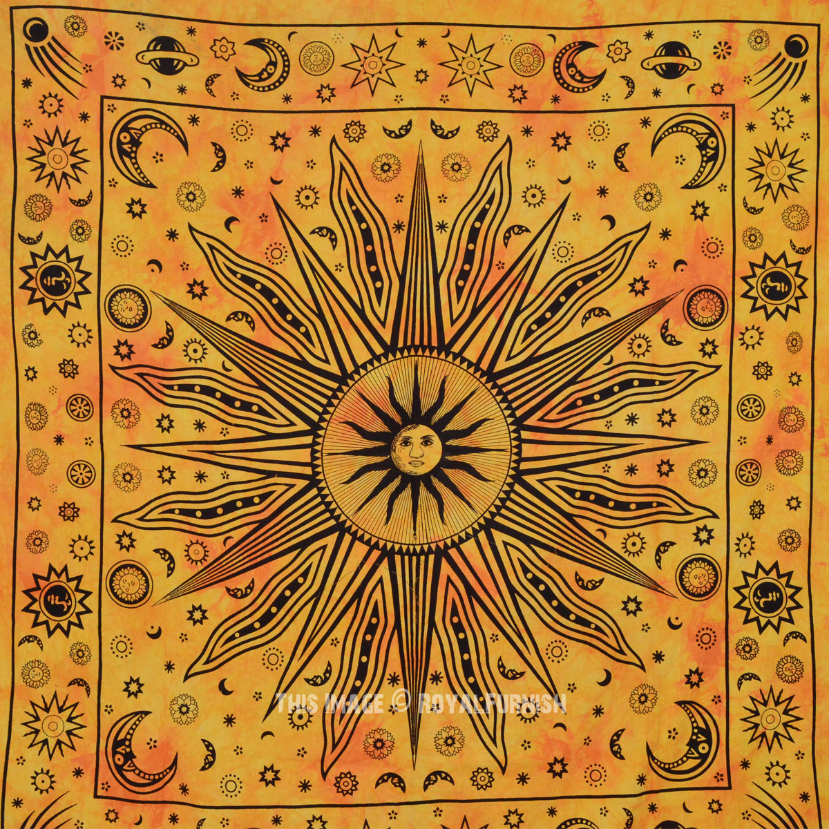 Large Yellow Celestial Psychedelic Sun Moon Wall Tapestry