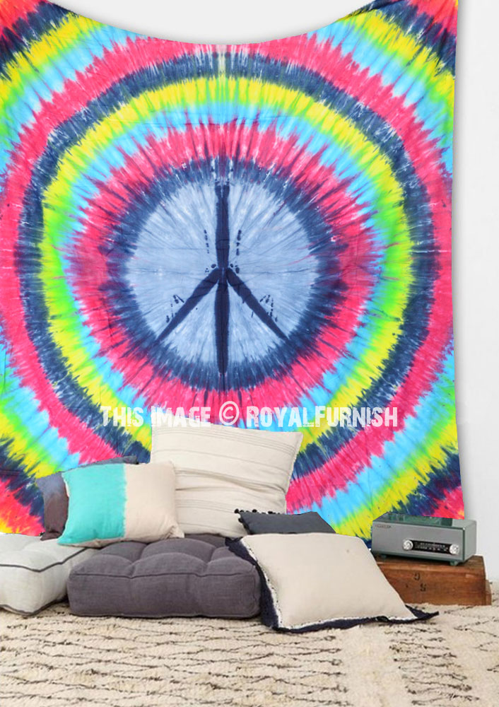 Colorful Rainbow Tie Dye Peace Sign Wall Tapestry Hippie