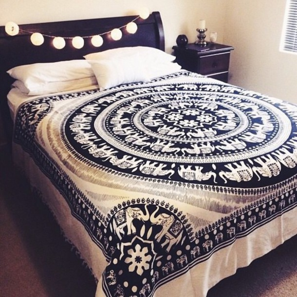 Black And White Elephant Mandala Fringed Tapestry Indian