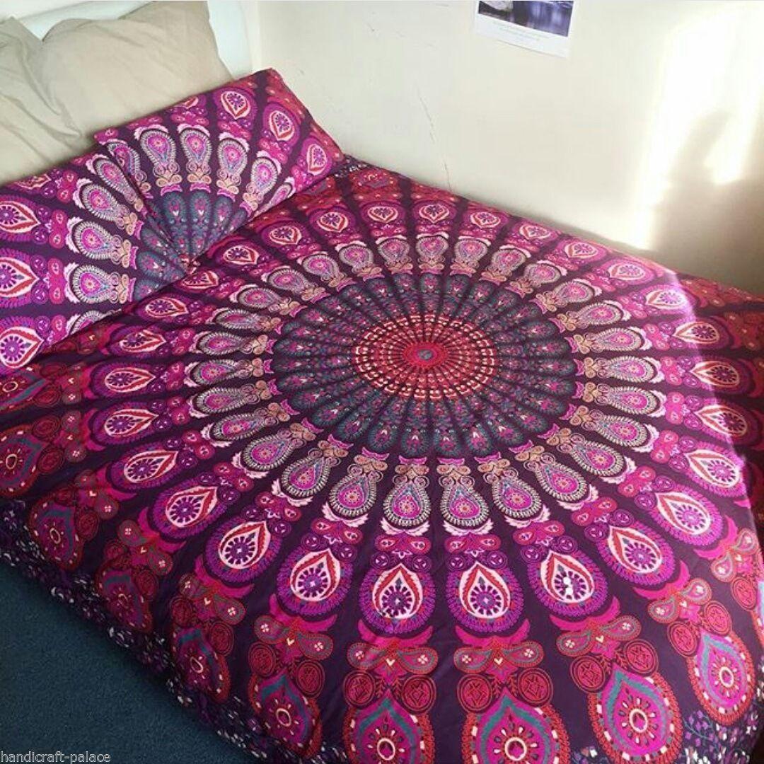 Pink Purple Classic Peafowl Mandala Duvet Cover With Set