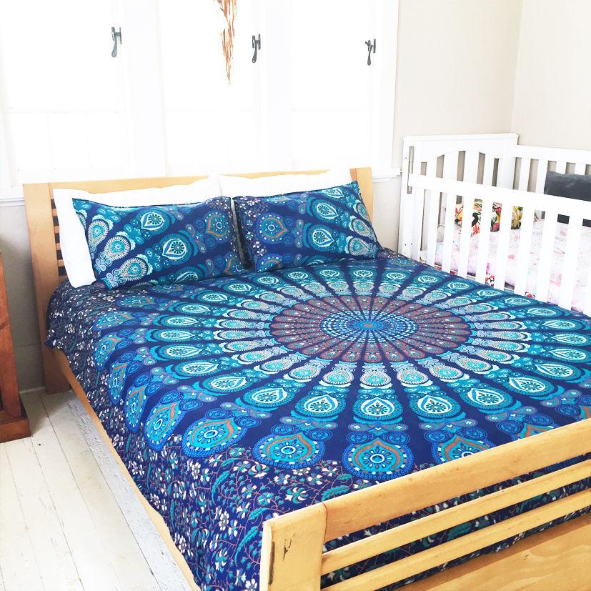 Blue Multi Reversible Peafowl Mandala Duvet Cover With Set