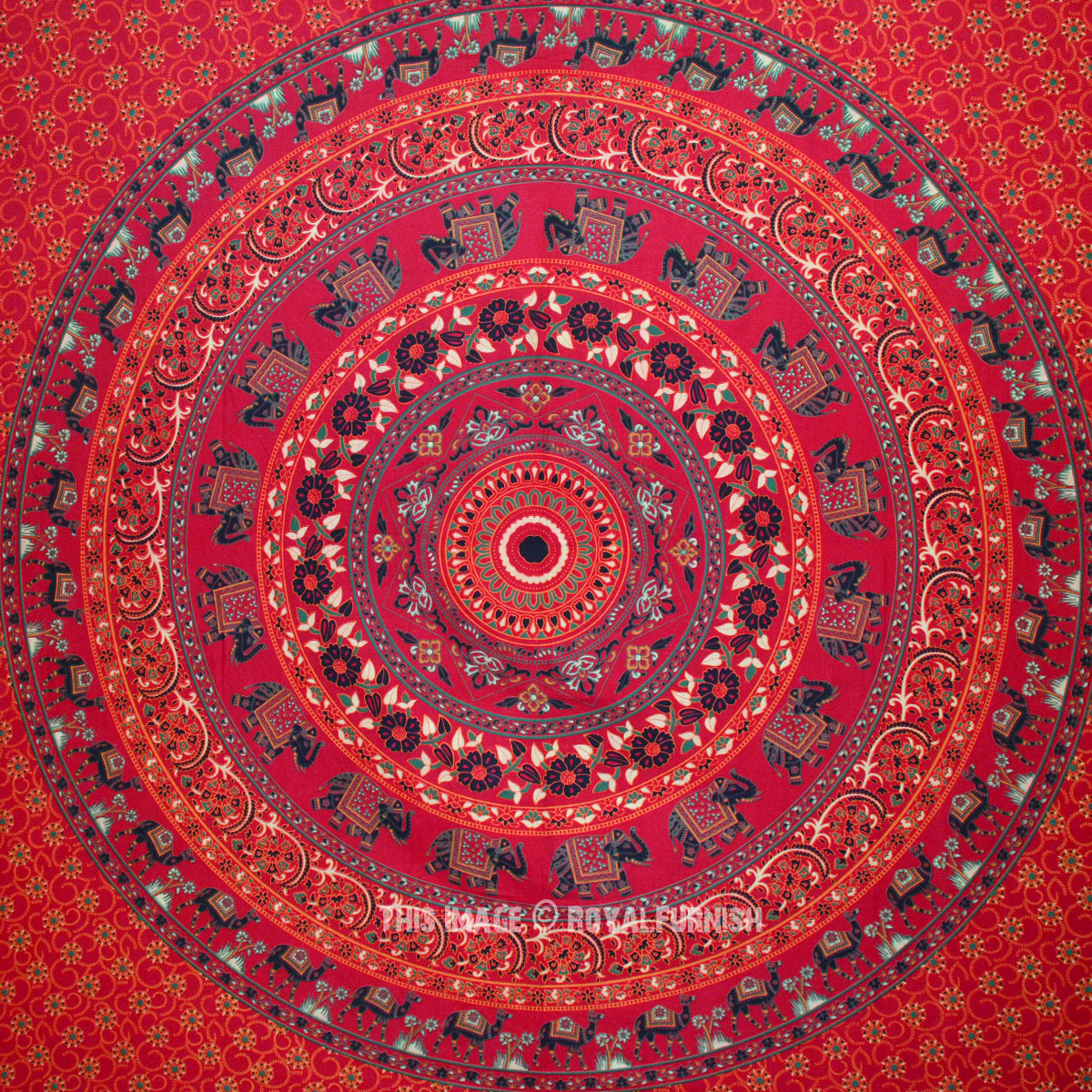 Red Multi Elephants & Camels Medallion Mandala Wall Tapestry - RoyalFurnish.com