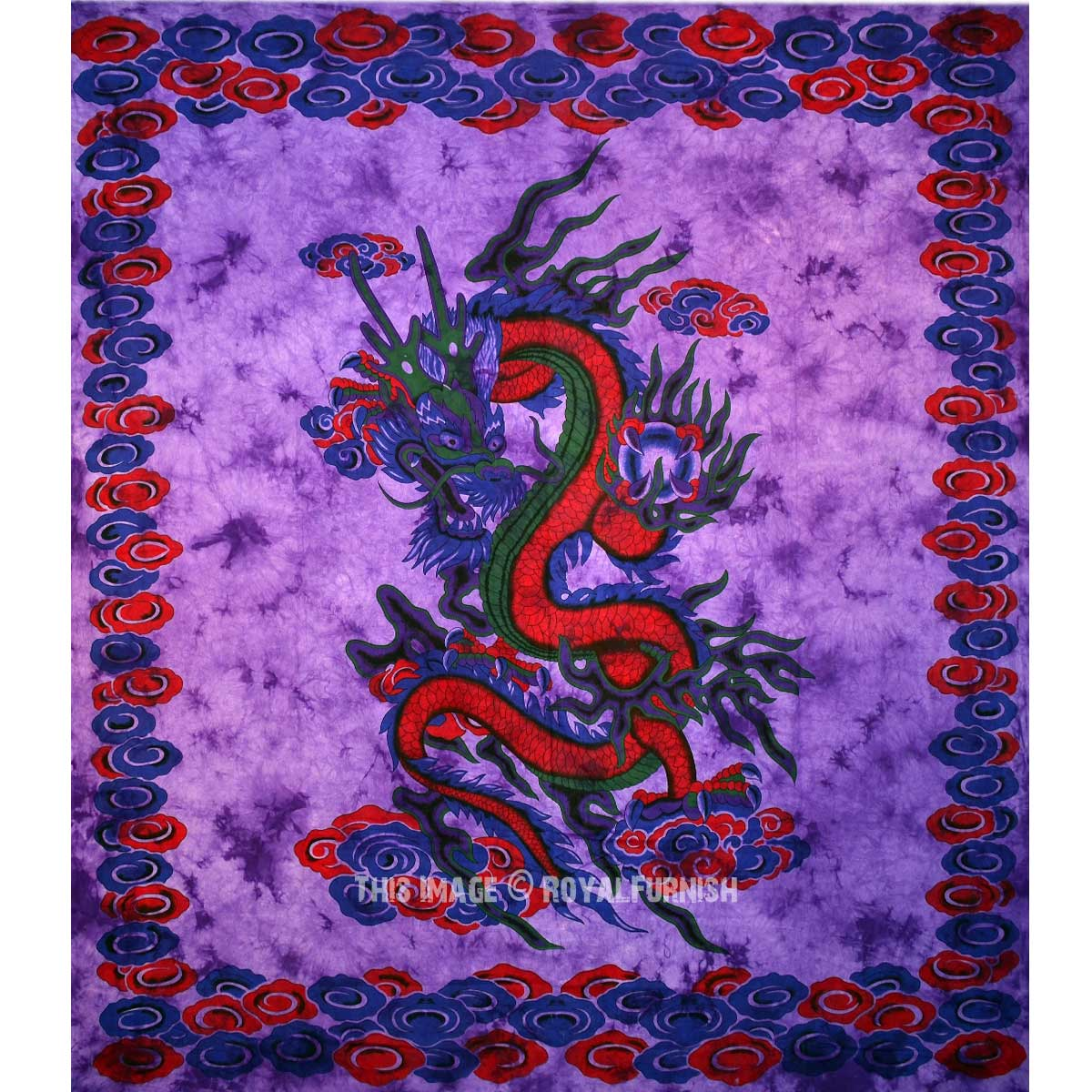 Purple Chinese Dragon Wall Tapestry Tie Dye Bedding Sheet