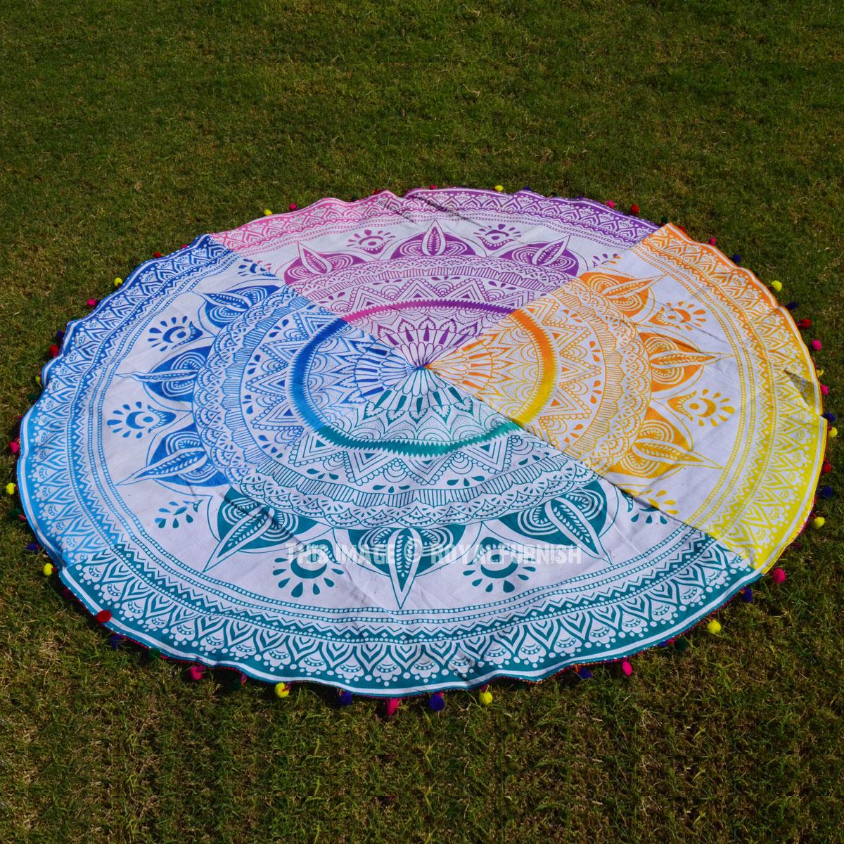 Colorful Pom Pom Ombre Round Mandala Beach Towel