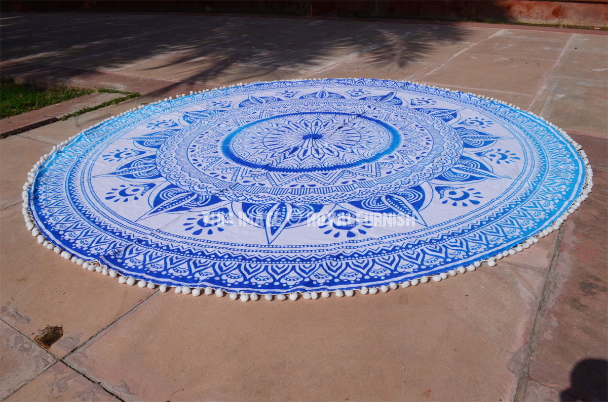 Home » Outdoor » Roundie Towels » Long Leafs Pom Pom Ombre Round ...