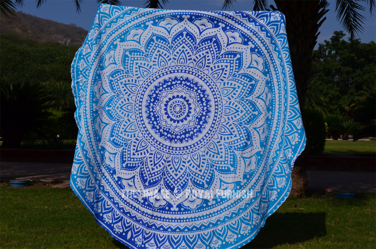 White Amp Blue Goddess Ombre Round Beach Towel Mandala