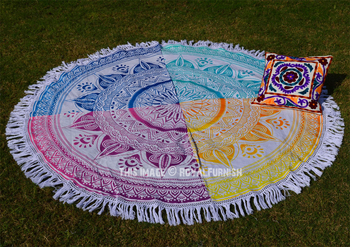 Multi Patchwork Ombre Theme Mandala Roundie Beach Towel