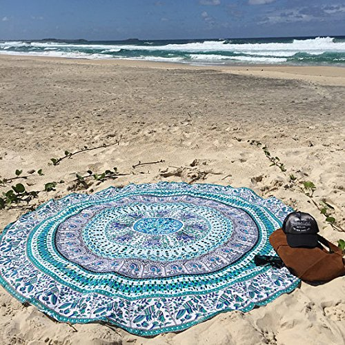 White Multi Birds Elephant Mandala Round Beach Towel