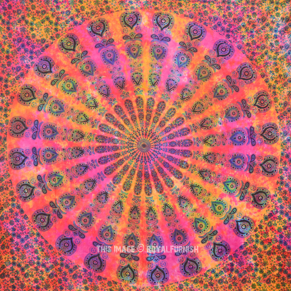 Holi theme tie dye mandala tapestry bedding throw for Space themed tapestry