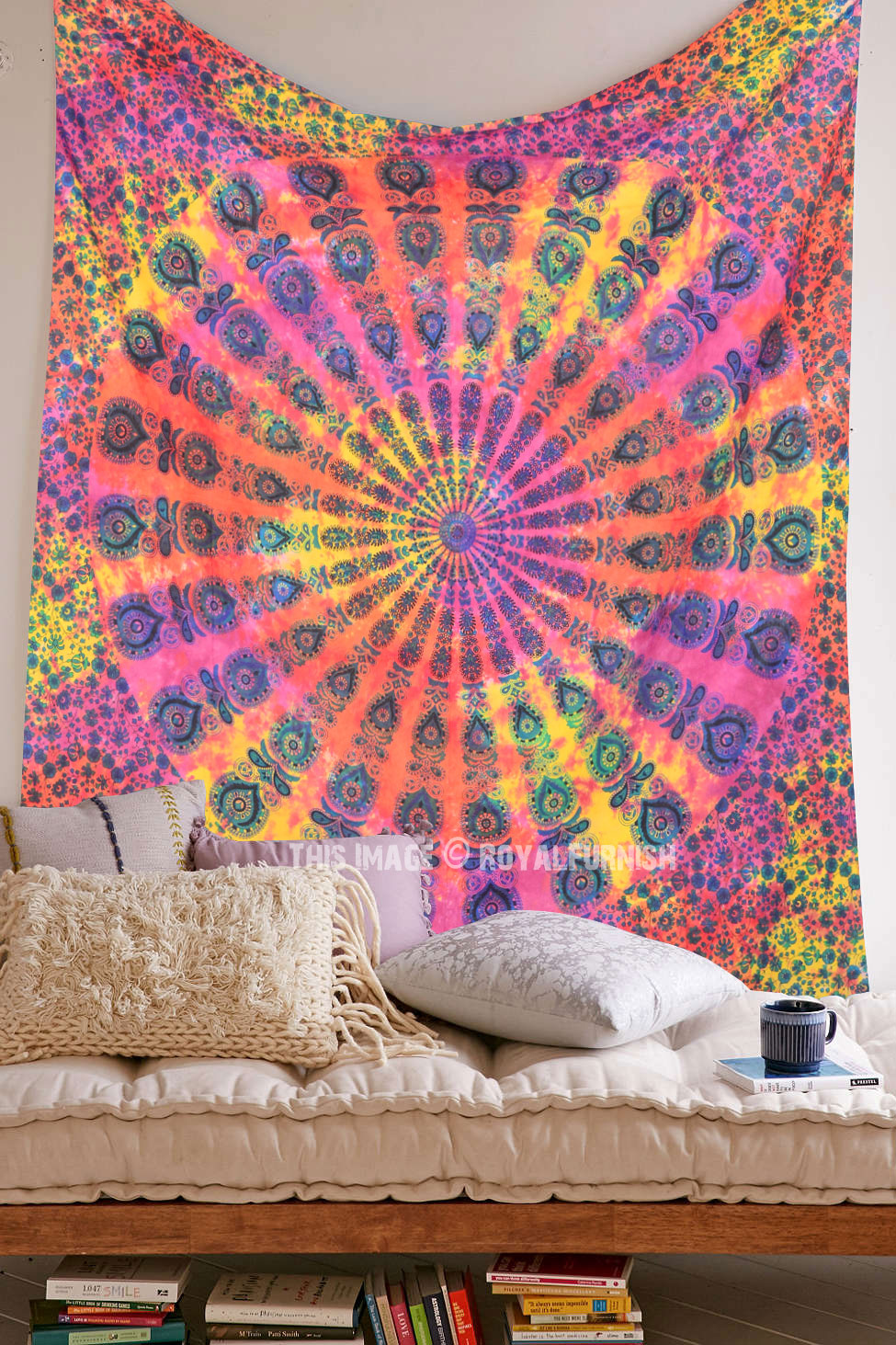 Holi Theme Tie Dye Mandala Tapestry Bedding Throw