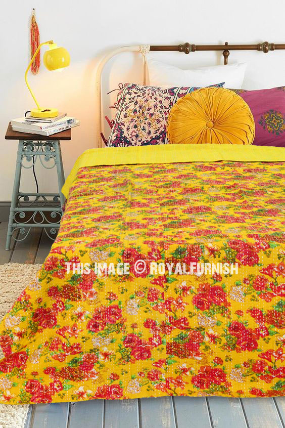 Kantha Quilt Home & Garden Bedding Indian Handmade Floral Kantha Quilt Throw Embroidered>bedspread Handsome Appearance