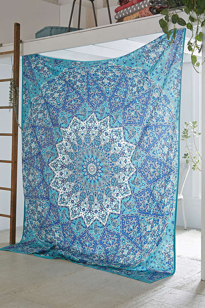 Grey 3 D Star Medallion Mandala Wall Tapestry Indian