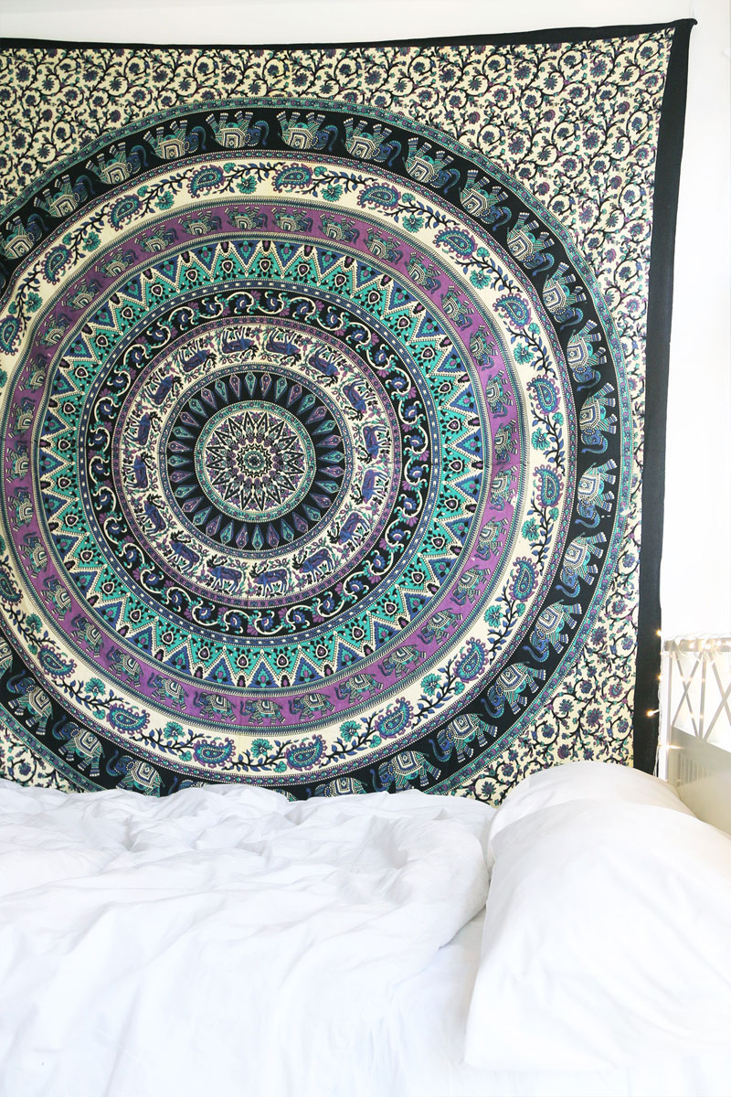 tapestry medallion circle bed cover parrot thumbnail hanging blue wall mandala