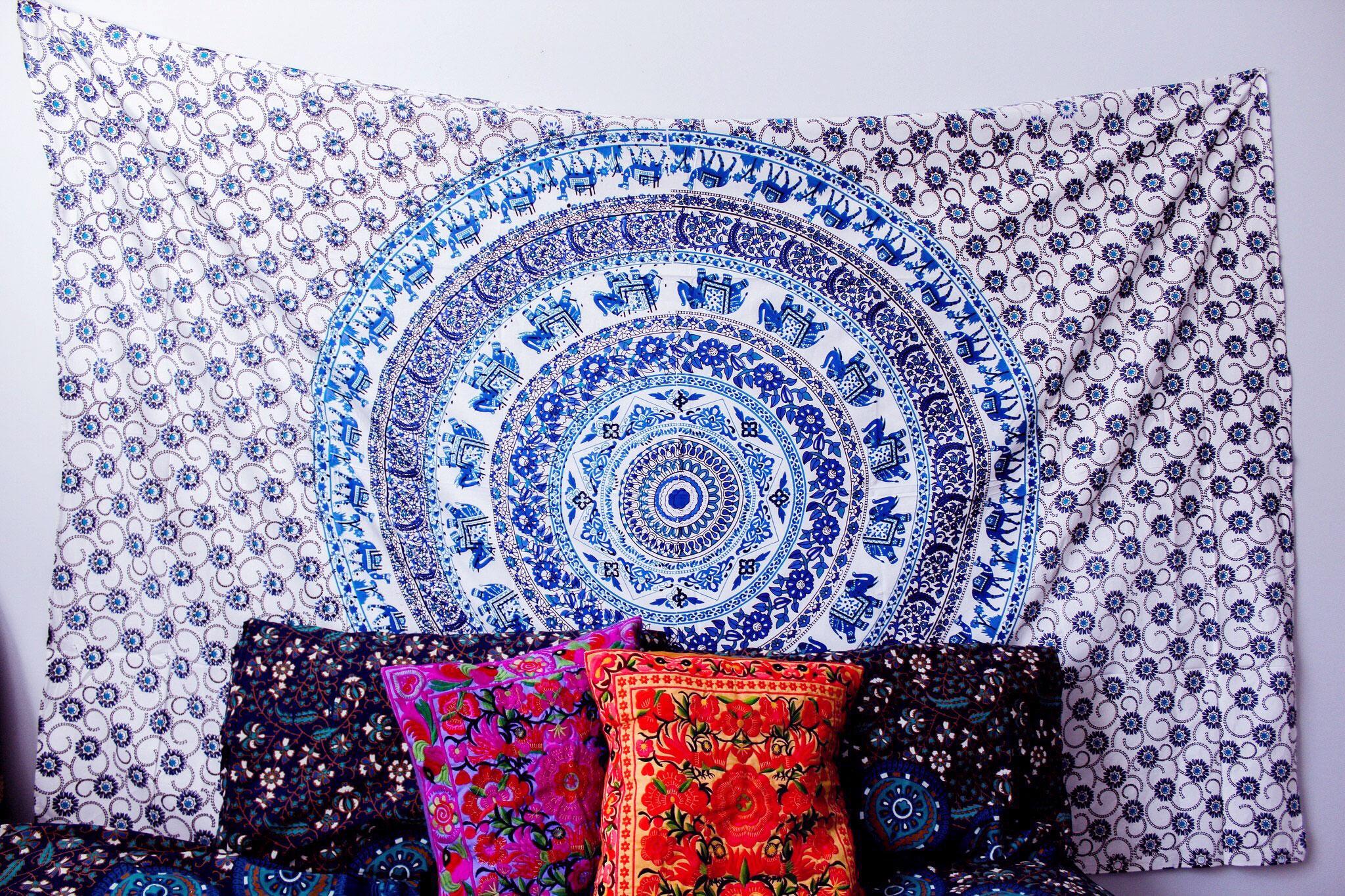 Blue multi elephants sun ombre mandala wall tapestry royalfurnish - White And Blue Elephants And Camels Medallion Tapestry Indian Mandala Wall Hanging Royalfurnish Com