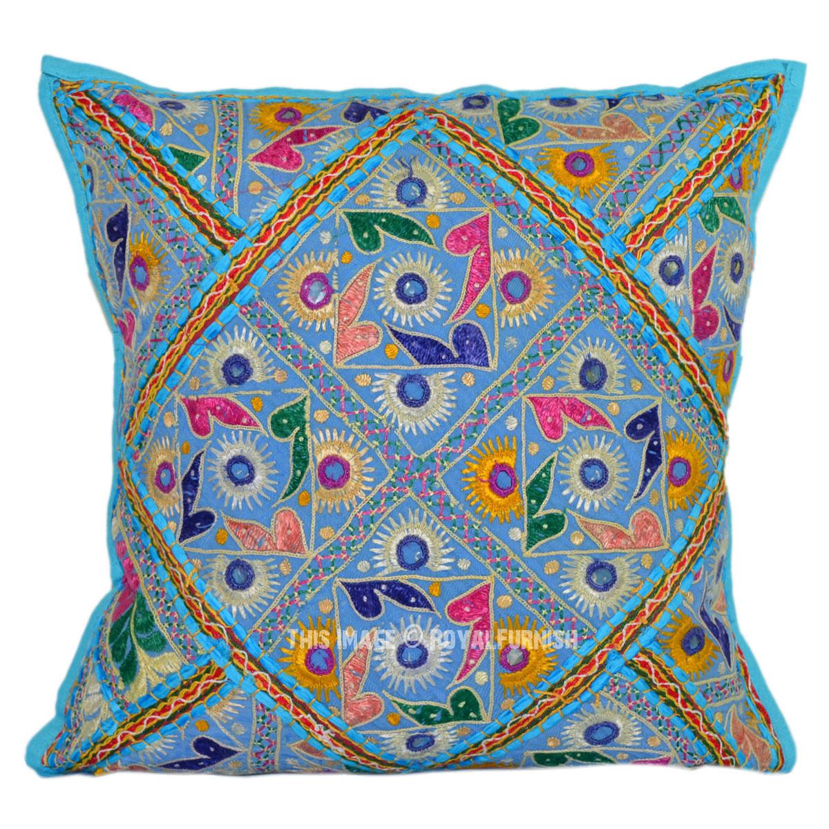 Turquoise Blue Decorative Vintage Tribal Boho Embroidered Toss Pillow - RoyalFurnish.com