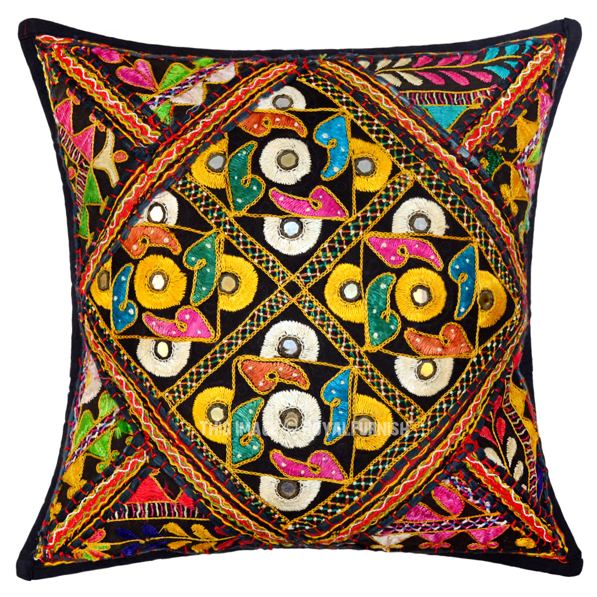 Decorative and Accent Black Medallion Vintage Embroidered Square Pillow Case - RoyalFurnish.com