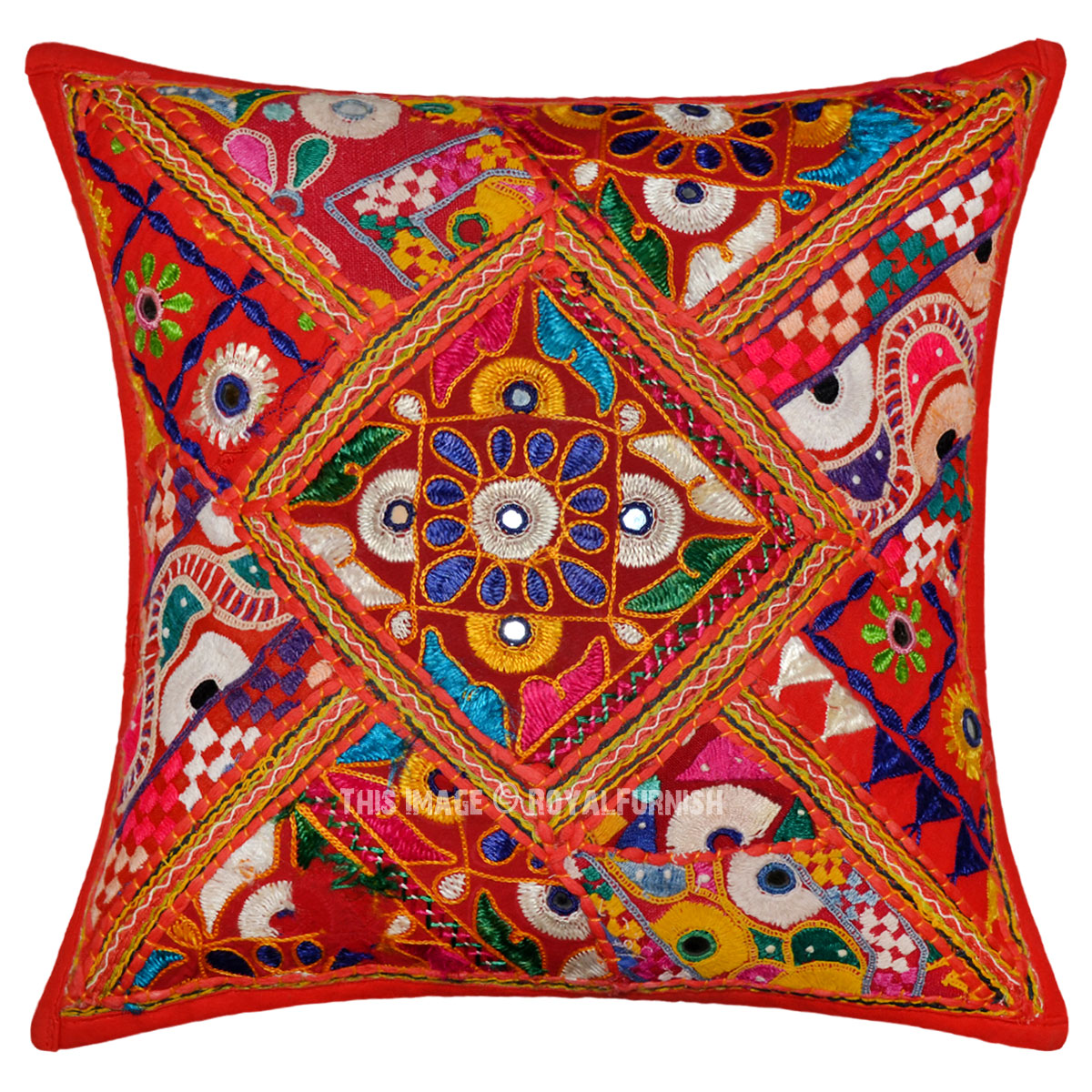 Unique Decorative Throw Pillows : Red Small Floral Unique One-Of-A-Kind Decorative Embroidered Pillow Sham - RoyalFurnish.com