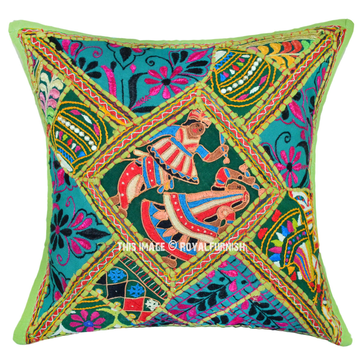 Folk Dance Featuring 16 Quot Boho Square Cotton Embroidered