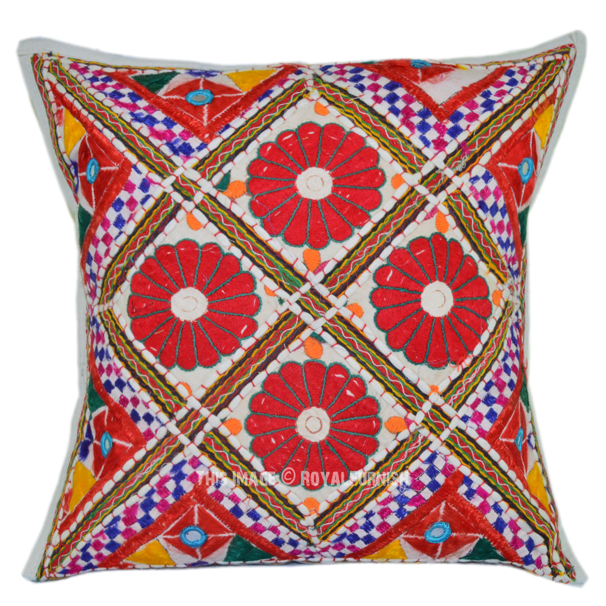 White Four Floral Multi Hand Embroidered Throw Pillow Cover - RoyalFurnish.com
