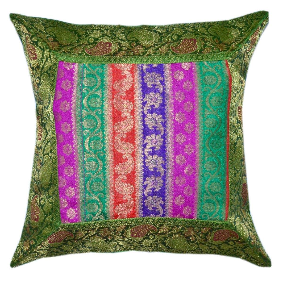 Multi Floral Striped Bohemian Style Silk Throw Pillow Cover - RoyalFurnish.com